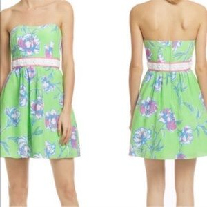 • Lilly Pulitzer • Green Floral Silk Langley Dress